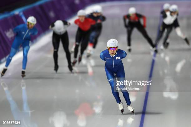 SeungHoon Lee of Korea competes during the Men's Speed Skating Mass Start Semifinal 1 on day 15 of the PyeongChang 2018 Winter Olympic Games at...