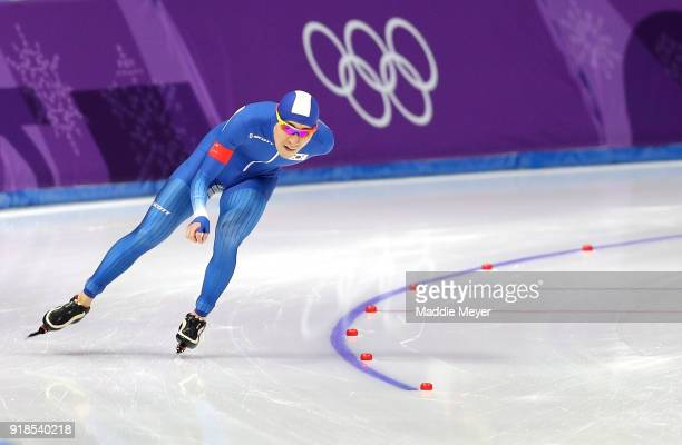 SeungHoon Lee of Korea competes during the Speed Skating Men's 10000m on day six of the PyeongChang 2018 Winter Olympic Games at Gangneung Oval on...