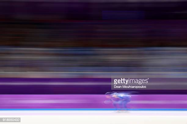 Seung-Hoon Lee of Korea competes during the Speed Skating Men's 10,000m on day six of the PyeongChang 2018 Winter Olympic Games at Gangneung Oval on...