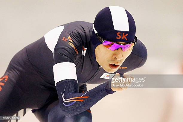 Seung-Hoon Lee of South Korea competes in the Mens 10000m race during day 1 of the ISU World Single Distances Speed Skating Championships held at...