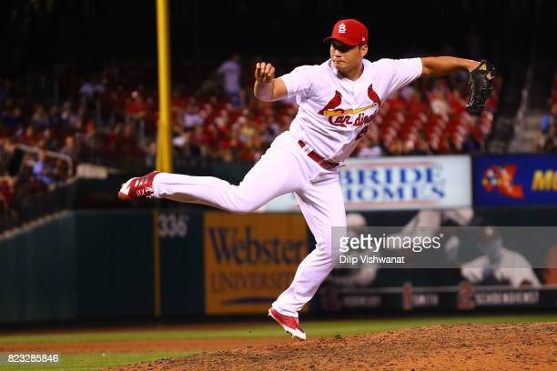 SeungHwan Oh of the St Louis Cardinals delivers a pitch against the Colorado Rockies in the ninth inning at Busch Stadium on July 26 2017 in St Louis...