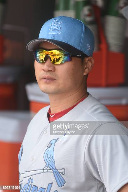 SeungHwan Oh of the St Louis Cardinals looks on before a baseball game against the Baltimore Orioles at Oriole Park at Camden Yards on June 18 2017...