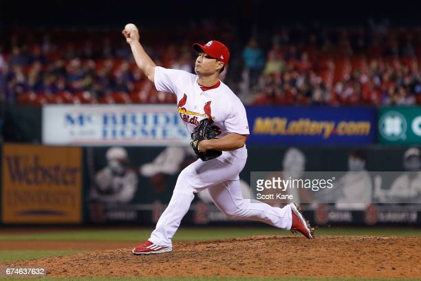 SeungHwan Oh of the St Louis Cardinals pitches during the ninth inning against the Cincinnati Reds at Busch Stadium on April 28 2016 in St Louis...