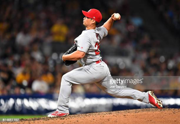 SeungHwan Oh of the St Louis Cardinals pitches during the ninth inning against the Pittsburgh Pirates at PNC Park on July 14 2017 in Pittsburgh...