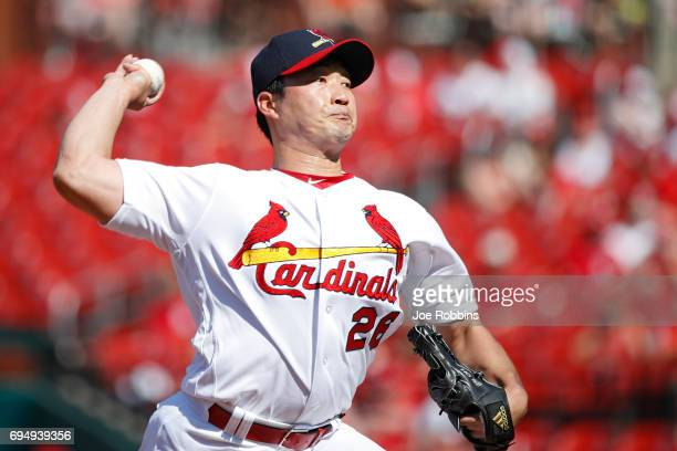 SeungHwan Oh of the St Louis Cardinals pitches in the ninth inning of a game against the Philadelphia Phillies at Busch Stadium on June 11 2017 in St...
