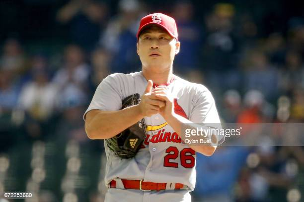 SeungHwan Oh of the St Louis Cardinals pitches in the ninth inning against the Milwaukee Brewers at Miller Park on April 23 2017 in Milwaukee...