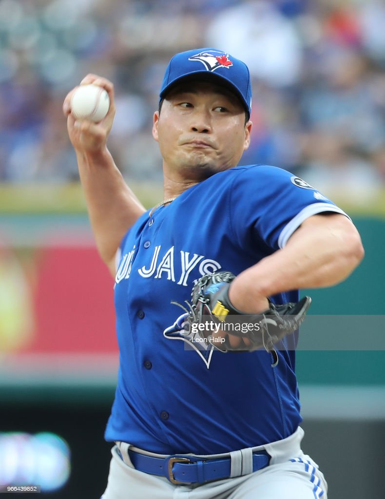 Seunghwan Oh #22 of the Toronto Blue Jays pitches during the eight inning of the game against the Detroit Tigers at Comerica Park on June 2, 2018 in Detroit, Michigan. The Tigers defeated the Blue Jays 7-4.