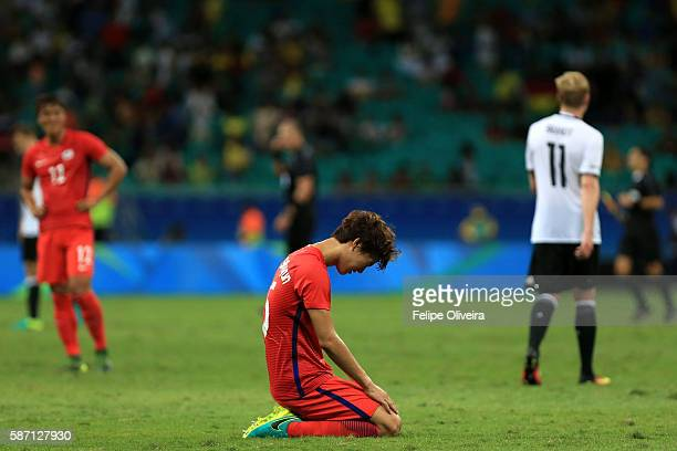 Seunghyun Jung of Korea reacts during the Men's First Round Group C match between Germany and Korea at Arena Fonte Nova on August 7 2016 in Salvador...
