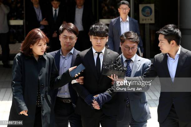 Seungri formerly a member of BIGBANG leaves after attending a court hearing at the Seoul Central District Court on May 14 2019 in Seoul South Korea...