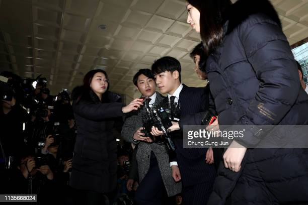 Seungri formerly a member of South Korean boy band BIGBANG is seen arriving at a Seoul Metropolitan Police Agency on March 14 2019 in Seoul South...