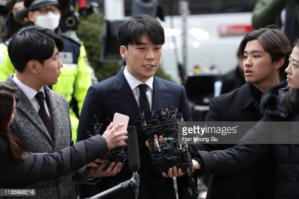 Seungri formerly a member of South Korean boy band BIGBANG is seen arriving at a Seoul police station on March 14 2019 in Seoul South Korea Seungri...