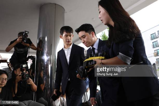 Seungri, formerly a member of South Korean boy band BIGBANG is seen arriving at a police station on August 28, 2019 in Seoul, South Korea. The Seoul...