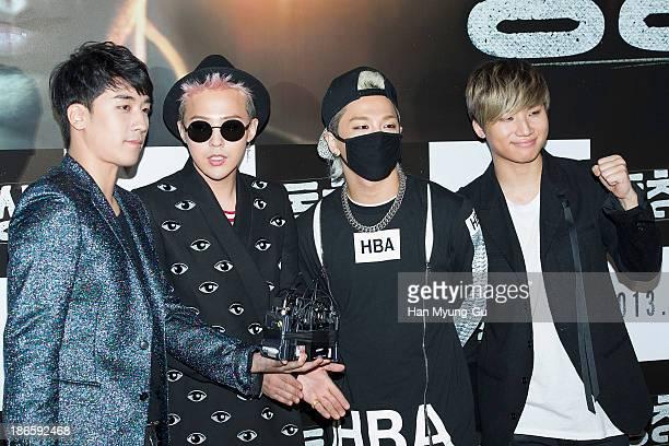 Seungri GDragon Taeyang and Daesung of South Korean boy band Bigbang attend Commitment VIP screening at Mega Box on October 29 2013 in Seoul South...