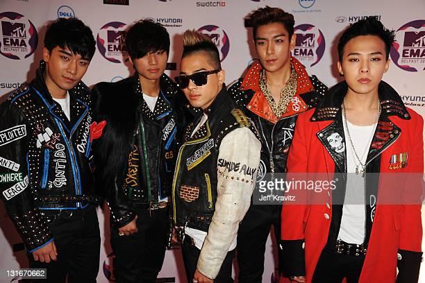 Seungri GDragon Taeyang TOP Daesung of Korean boy band Big Bang attend the MTV Europe Music Awards 2011 at the Odyssey Arena on November 6 2011 in...