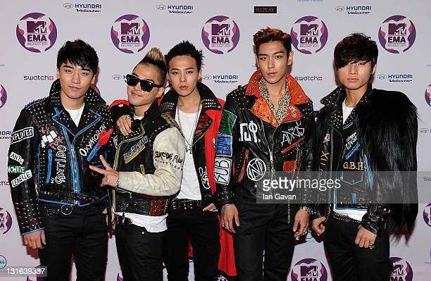 Seungri GDragon Taeyang TOP Daesung of South Korean boy band Big Bang attend the MTV Europe Music Awards 2011 at the Odyssey Arena on November 6 2011...