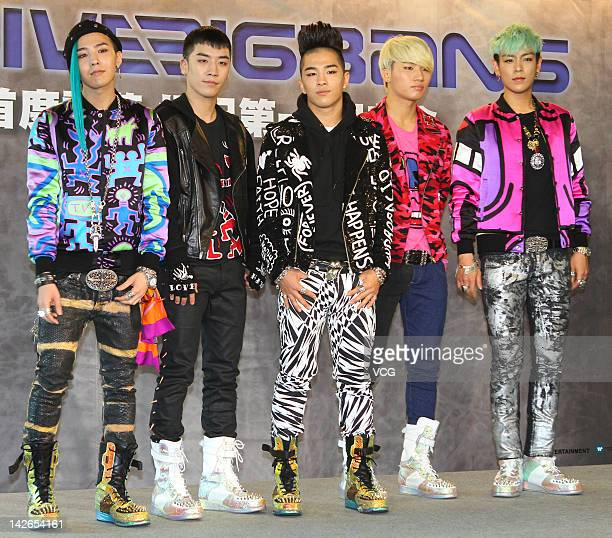 Seungri GDragon TOP Taeyang and Daesung of South Korean band BigBang meet fans at Taipei 101 on April 10 2012 in Taipei Taiwan