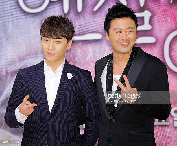 SeungRi of BigBang and Kong HyungJin attend the SBS drama 'Angel Eyes' press conference at SBS broadcasting center on April 3 2014 in Seoul South...