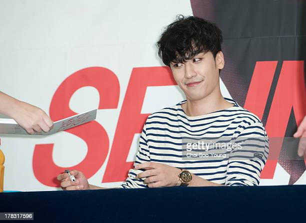 SeungRi of Bigbang attends the autograph session at Times Square on August 28 2013 in Seoul South Korea