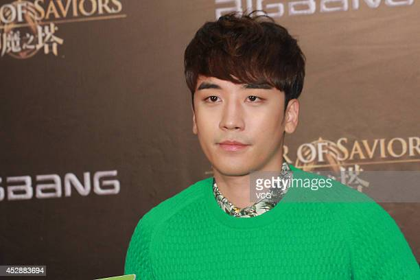 Seungri of South Korean boy band Bigbang attends mobile game Tower of Saviors promotional event at Hong Kong Convention and Exhibition Centre on July...