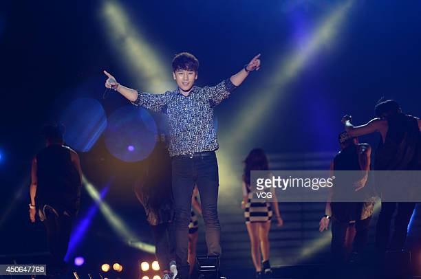 Seungri of South Korean boy band Bigbang performs on stage during a fans meeting on June 14 2014 in Chengdu Sichuan Province of China