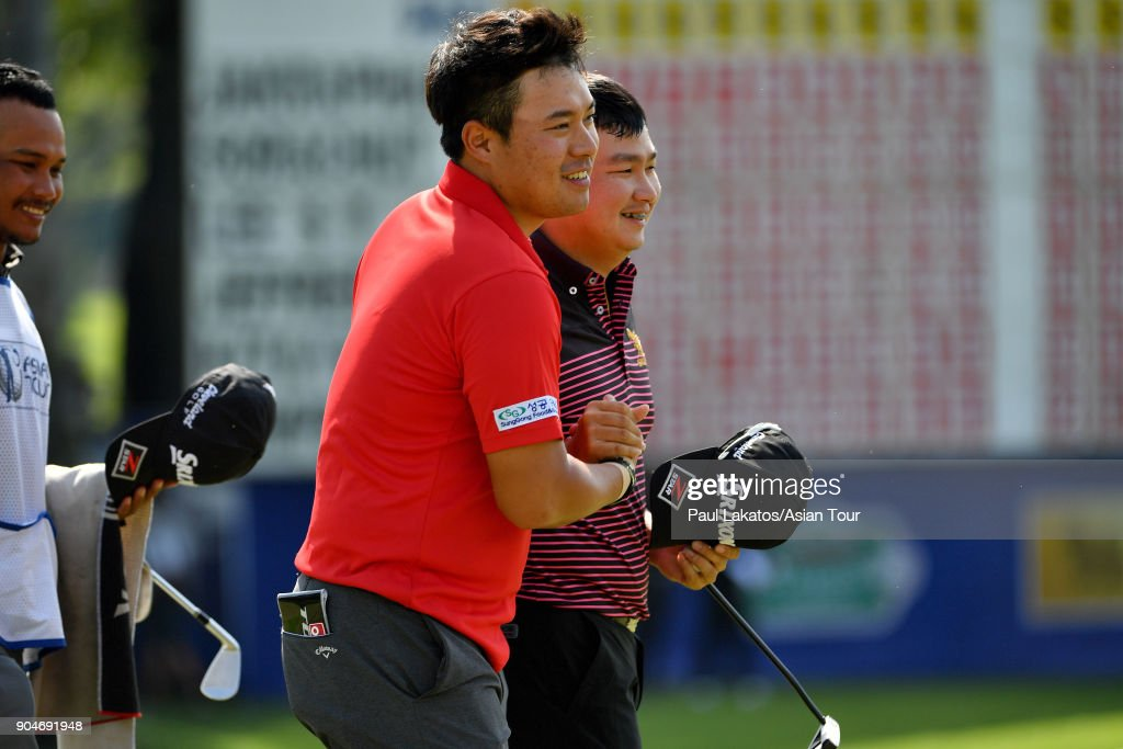Seungtaek Lee of Korea, left, and Sorachut Hansapiban of Thailand during round five of the 2018 Asian Tour Qualifying School Final Stage at Rayong Green Valley Country Club on January 14, 2018 in Rayong, Thailand.