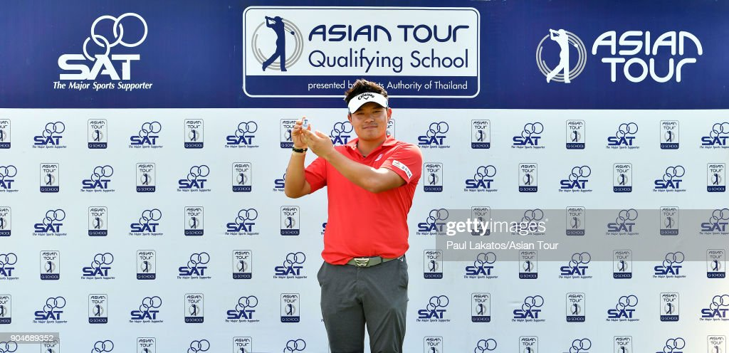 Seungtaek Lee of Korea pictured with the Asian Tour's player's clip securing his 2018 playing rights during round five of the 2018 Asian Tour Qualifying School Final Stage at Rayong Green Valley Country Club on January 14, 2018 in Rayong, Thailand.