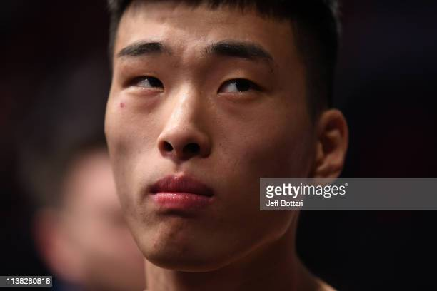 Seungwoo Choi of South Korea prepares to enter the Octagon prior to his featherweight bout against Movsar Evloev of Russia during the UFC Fight Night...