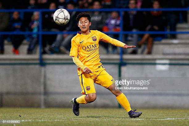 Seungwoo Lee of Barcelona in action during the UEFA Youth League Quarterfinal match between Anderlecht and Barcelona held at Van Roy Stadium on March...