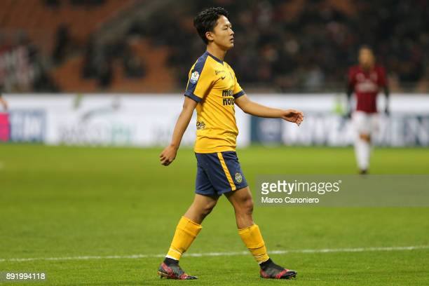 SeungWoo Lee of Hellas Verona Fc during the Tim Cup football match between AC Milan and Hellas Verona Fc Ac Milan wins 30 over Hellas Verona Fc