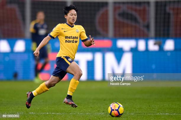 SeungWoo Lee of Hellas Verona in action during the TIM Cup football match between AC Milan and Hellas Verona AC Milan won 30 over Hellas Verona