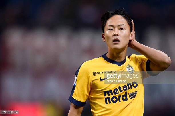 SeungWoo Lee of Hellas Verona looks on during the TIM Cup football match between AC Milan and Hellas Verona AC Milan won 30 over Hellas Verona