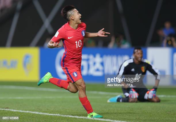 Seungwoo Lee of Korea Republic celebrates after scoring their first goal during the FIFA U20 World Cup Korea Republic 2017 group A match between...