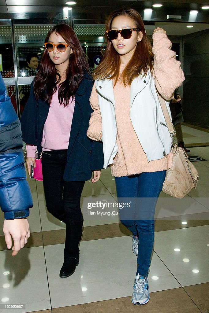 Seungyeon and Hara of South Korean girl group Kara are seen on departure to Japan at Gimpo International Airport on March 1, 2013 in Seoul, South Korea.