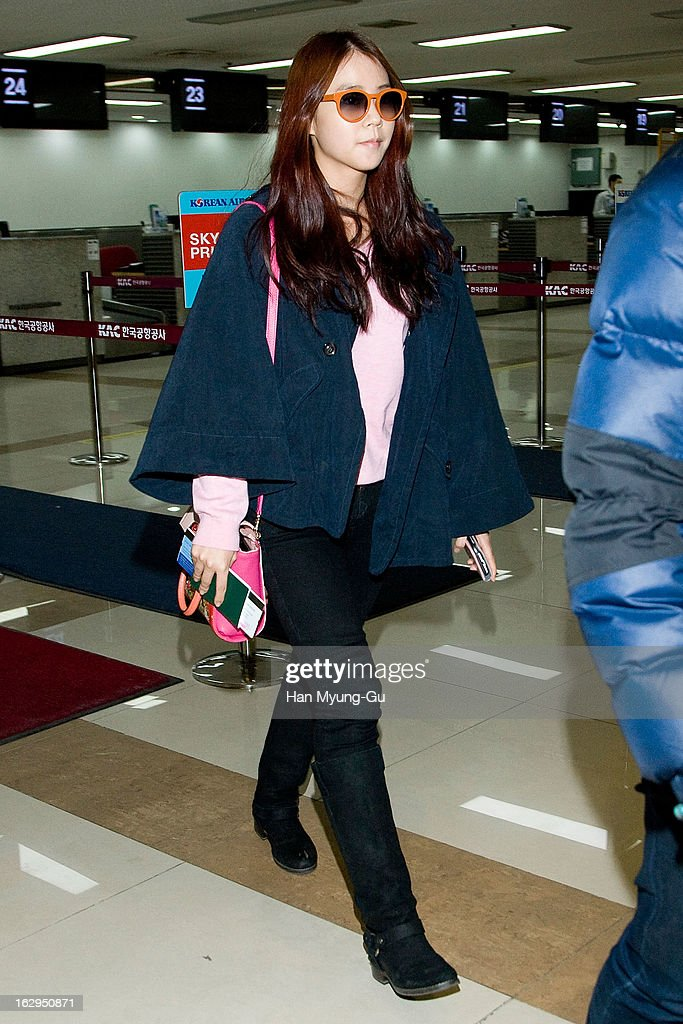 Seungyeon of South Korean girl group Kara is seen on departure to Japan at Gimpo International Airport on March 1, 2013 in Seoul, South Korea.
