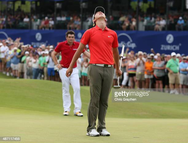 Seung-Yul Noh celebrates after his win during the Final Round of the Zurich Classic of New Orleans at TPC Louisiana on April 27, 2014 in Avondale,...