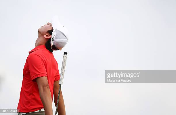 SeungYul Noh celebrates after winning the Zurich classic during the final round of the Zurich Classic of New Orleans at TPC Louisiana on April 27...