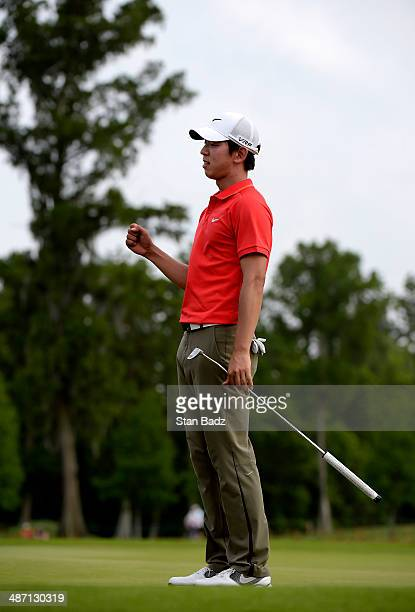 SeungYul Noh celebrates his win after the final round of the Zurich Classic of New Orleans at TPC Louisiana on April 27 2014 in Avondale Louisiana
