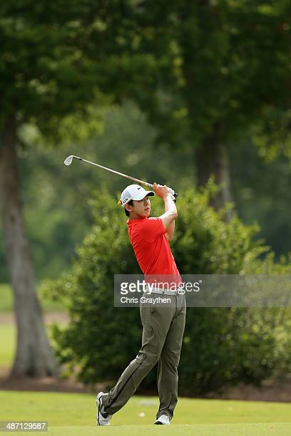 SeungYul Noh hits his second shot on the 15th hole during the Final Round of the Zurich Classic of New Orleans at TPC Louisiana on April 27 2014 in...