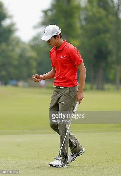 SeungYul Noh makes birdie on the 8th during the Final Round of the Zurich Classic of New Orleans at TPC Louisiana on April 27 2014 in Avondale...