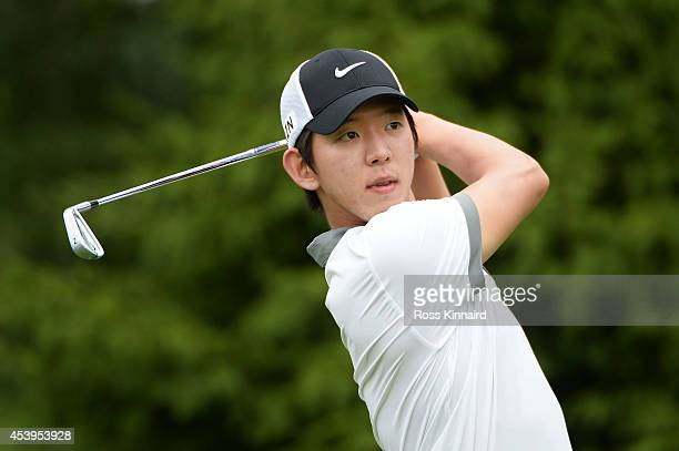 SeungYul Noh of South Korea plays his shot from the 14th tee during the second round of The Barclays at The Ridgewood Country Club on August 22 2014...