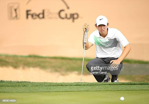 SeungYul Noh of South Korea prepares to putt on the 18th during Round One of the Valero Texas Open at the ATT Oaks Course on March 27 2014 in San...