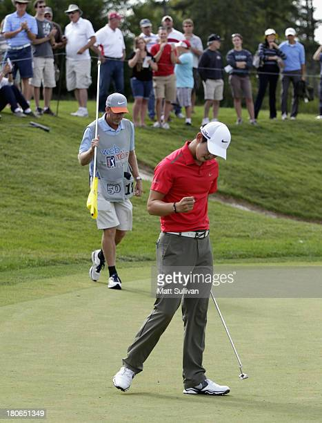 SeungYul Noh of South Korea reacts after making a birdie on the 12th hole during final round of the Nationwide Children's Hospital Championship on...