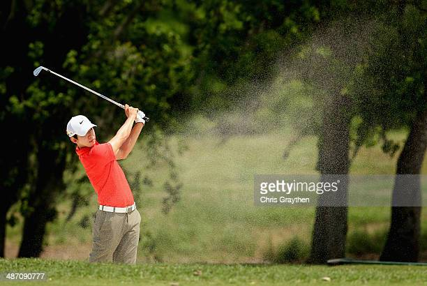 SeungYul Noh takes his second shot on the 2nd during the Final Round of the Zurich Classic of New Orleans at TPC Louisiana on April 27 2014 in...