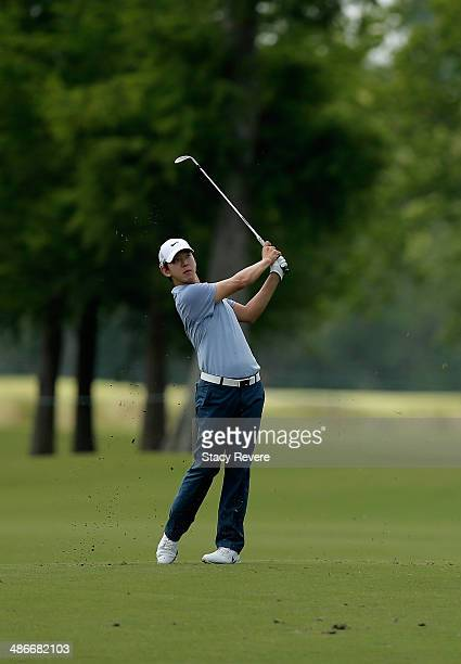 SeungYul Noh takes his shot on the 13th during Round Two of the Zurich Classic of New Orleans at TPC Louisiana on April 25 2014 in Avondale Louisiana