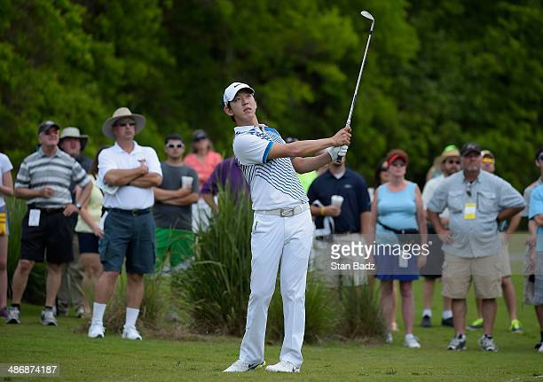 SeungYul Noh takes his shot on the 2nd during Round Three of the Zurich Classic of New Orleans at TPC Louisiana on April 26 2014 in Avondale Louisiana