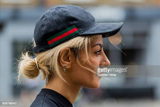 9734badda12f Sev Halit wearing a Gucci hat during London Fashion Week Spring Summer  collections 2017 on