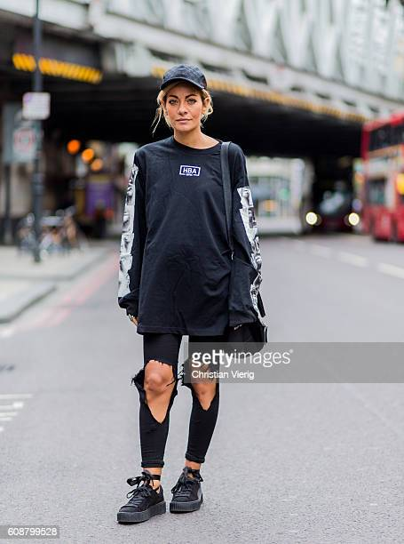Sev Halit wearing a Gucci hat HBA longshirt ripped jeans Givenchy bag outside during London Fashion Week Spring/Summer collections 2017 on September...