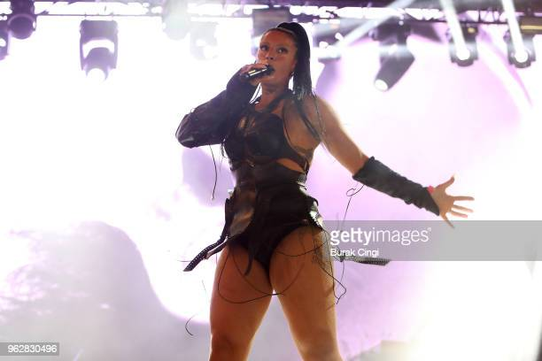 Sevdaliza performs at All Points East Festival at Victoria Park on May 26 2018 in London England