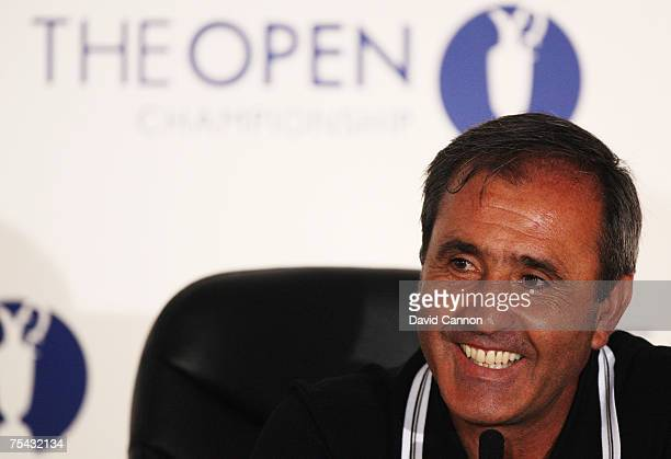 Seve Ballesteros of Spain announces his retirement from golf at a press conference during previews to The Open Championship at the Carnoustie Golf...