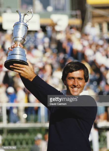 Seve Ballesteros of Spain celebrates with the Claret Jug after he holes out on the final 18th green to win the 113th Open Championship on 22nd July...